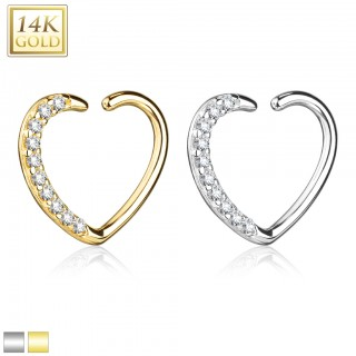 14 Kt. gold earring heart with crystals for right ear
