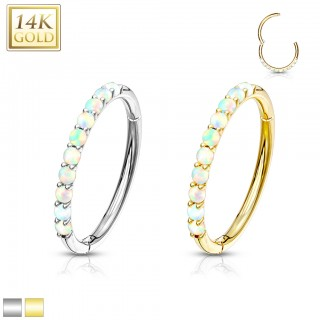 14 Kt. gold hinged segment ring with paved white opals