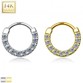 14 Kt. gold septum clicker with row of ten clear crystals