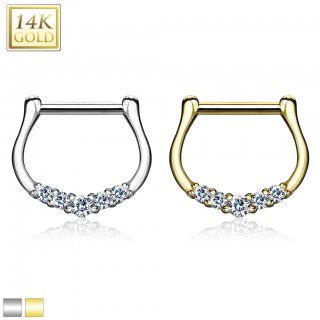 14 Kt. gold septum clicker with five clear crystals