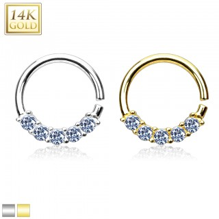 Solid gold septum ring with gems