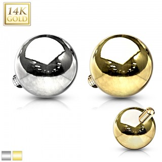 14 Kt. gold dermal top with gold ball