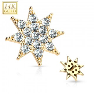 14 Kt. gold dermal top with clear small gemmed star - Yellow Gold