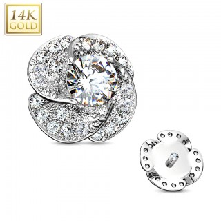 Dermal top of 14 Kt. gold with flower of clear crystals - White Gold
