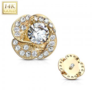 Dermal top of 14 Kt. gold with flower of clear crystals - Yellow Gold