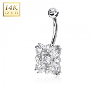 14 Kt. white gold belly ring with round and Marquise cut crystals