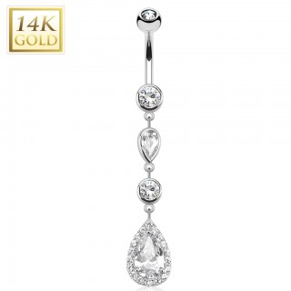 Solid white gold belly ring with descending droplet crystals