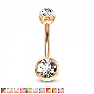 Rose gold basic belly bar with coloured gems