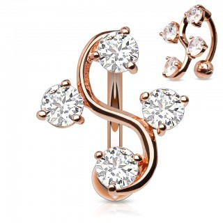 Rose gold plated reverse belly button piercing with elegant S