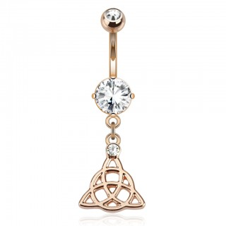 Rose gold belly bar with celtic knot