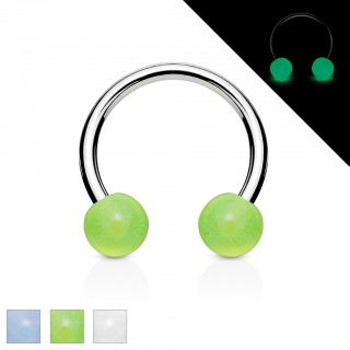 Circular barbell with glow in the dark balls