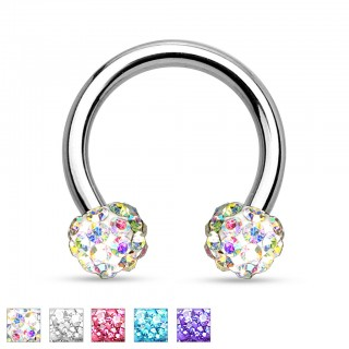 Circular barbell with gems in Ferido pattern balls