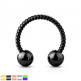 Coloured circular barbell with balls and twisted bar
