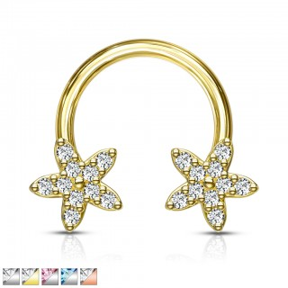 Circular barbell with coloured crystal paved flowers