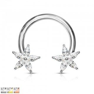 Coloured circular barbell with crystals in flower ends