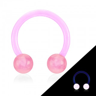 Gekleurde circular barbell met glow in the dark balletjes