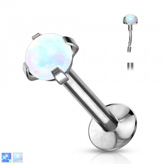 Opal prong set steel labret with push in top