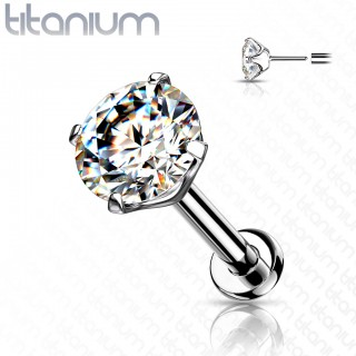 Titanium Push-Fit Labret with prong set crystal