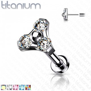 Push-Fit Titanium Labret with triangle top and coloured crystals
