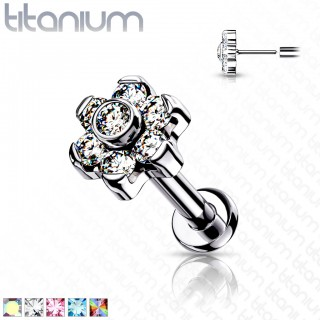 Push-Fit Titanium Labret with flower top and coloured crystals