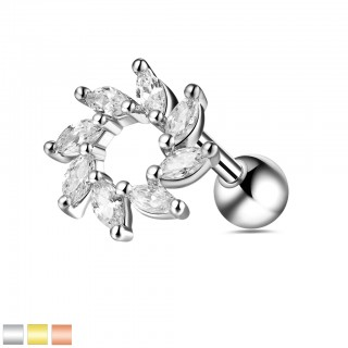 Ear cartilage piercing with crystal swirl sun top