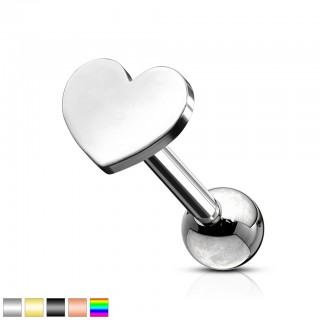 Coloured ear cartilage piercing with heart top