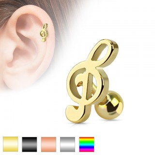 Coloured music clef shaped cartilage piercing
