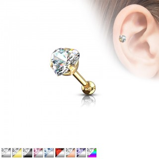 Crystal heart topped tragus bar