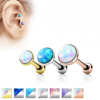 Tragus piercing with flat opal stone
