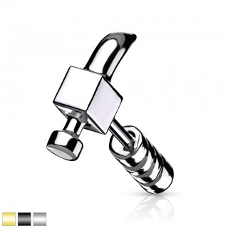 Coloured claw hammer shaped ear piercing