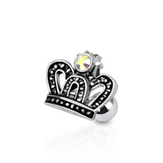Tragus piercing with crown and aurora borealis stone