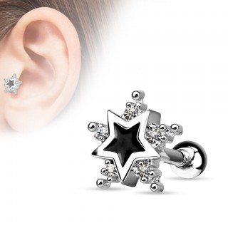 Tragus piercig with black star and five crystals all around