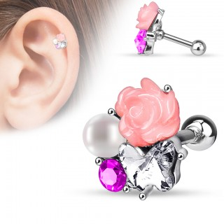 Helix stud with bushel of crystalised pearls and flowers