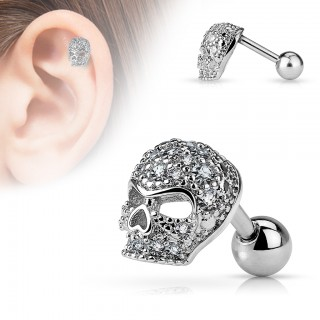 Tragus piercing with crystals in skull