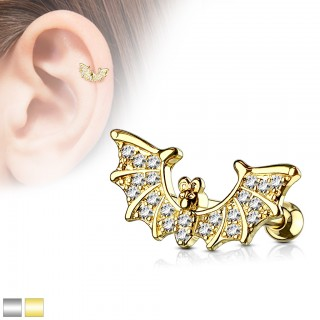 Cartilage piercing with bat and clear crystals