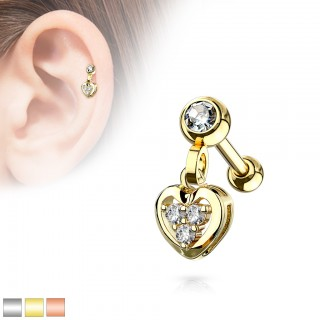Coloured dangling cartilage stud with small heart