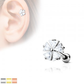 Ear piercing with clear crystals on triangle flower
