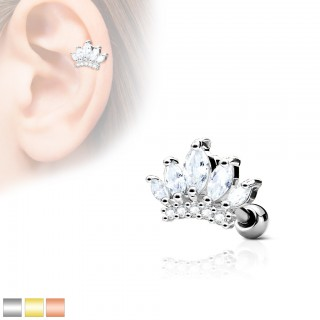 Ear piercing with clear crystals on tiara
