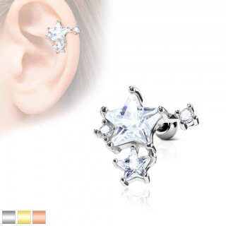 Ear piercing with clear star cluster on top