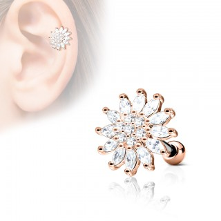 Ear piercing with top of a clear flower - Rose Gold