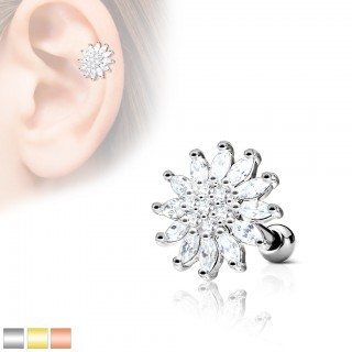 Ear piercing with top of a clear flower