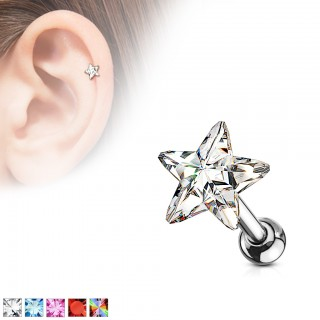 Cartilage ear stud with coloured crystal star