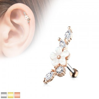 Wide cartilage stud with clear crystals and flower