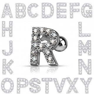 Tragus piercing with crystalized letter - P