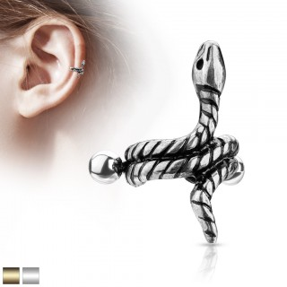 Helix cuff piercing with coloured coiled snake