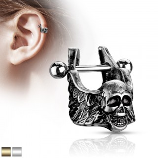 Helix cuff piercing with coloured winged skull