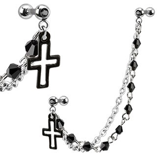 Tragus to helix chain with cross and black crystals