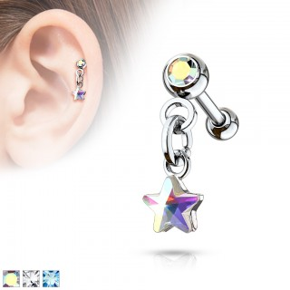 Cartilage ear stud with dangling coloured crystal star
