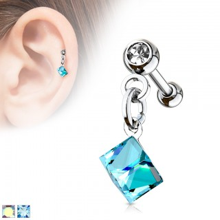 Ear piercing with coloured crystal square dangle