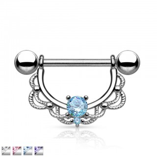 Nipple bars with coloured crystal in steel shield